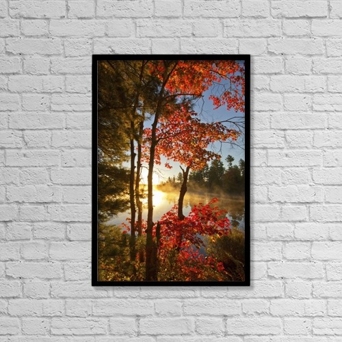 """Printscapes Wall Art: 12"""" x 18"""" Canvas Print With Black Frame - Red Maple And Early Morning Mist On Pond by Irwin Barrett"""