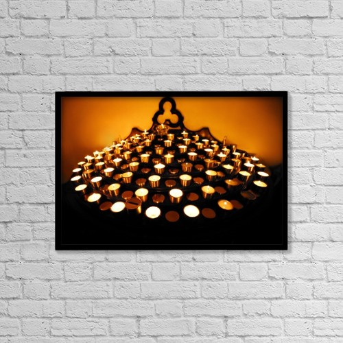 """Printscapes Wall Art: 18"""" x 12"""" Canvas Print With Black Frame - Candles Lit by Con Tanasiuk"""