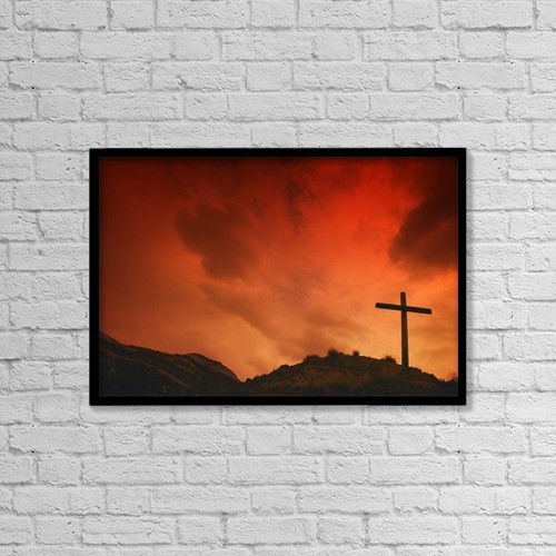 """Printscapes Wall Art: 18"""" x 12"""" Canvas Print With Black Frame - Cross On A Hill by Don Hammond"""
