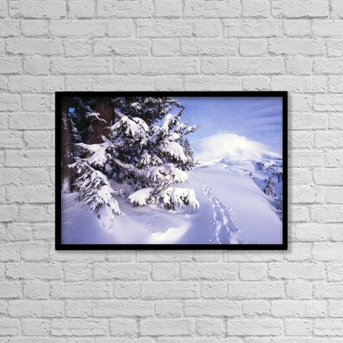 "Printscapes Wall Art: 18"" x 12"" Canvas Print With Black Frame - Tracks In The Snow by Natural Selection Craig Tuttle"