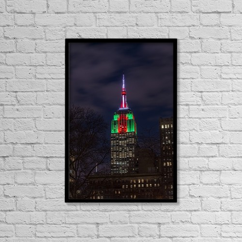 "Printscapes Wall Art: 12"" x 18"" Canvas Print With Black Frame - Empire State Building In Christmas Colours by F. M. Kearney"