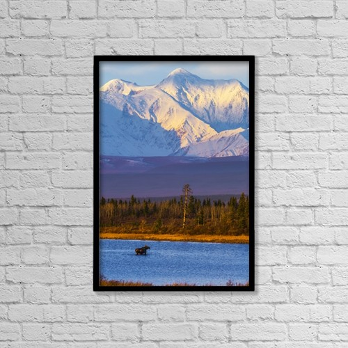 "Printscapes Wall Art: 12"" x 18"" Canvas Print With Black Frame - Animals by Steven Miley"