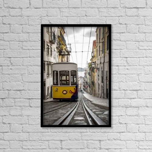 "Printscapes Wall Art: 12"" x 18"" Canvas Print With Black Frame - Tram; Lisbon, Portugal by Dosfotos"