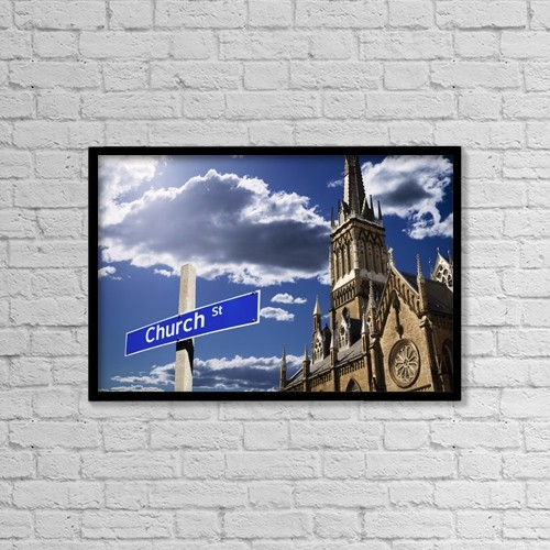 """Printscapes Wall Art: 18"""" x 12"""" Canvas Print With Black Frame - Church Street by Kelly Redinger"""