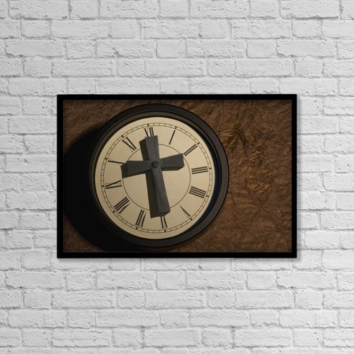 """Printscapes Wall Art: 18"""" x 12"""" Canvas Print With Black Frame - Religious Clock by Darren Greenwood"""