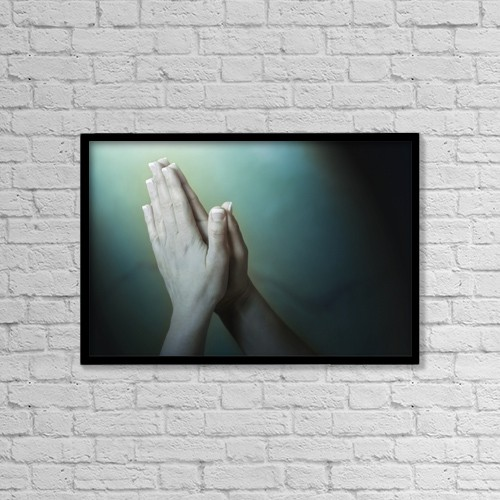 """Printscapes Wall Art: 18"""" x 12"""" Canvas Print With Black Frame - Praying Hands by Leah Hammond"""