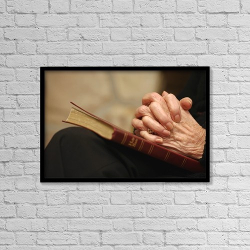 """Printscapes Wall Art: 18"""" x 12"""" Canvas Print With Black Frame - Praying Hands by Don Hammond"""
