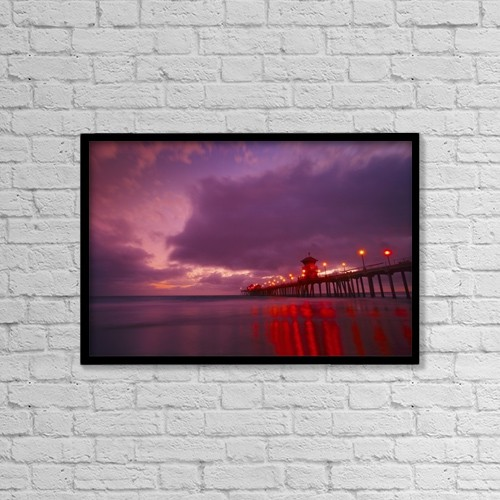 "Printscapes Wall Art: 18"" x 12"" Canvas Print With Black Frame - Huntington Beach, California, Usa by Don Hammond"