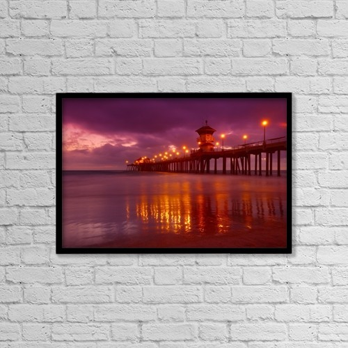 "Printscapes Wall Art: 18"" x 12"" Canvas Print With Black Frame - Huntington Beach At Night by Don Hammond"