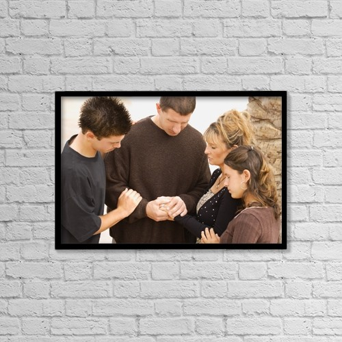 "Printscapes Wall Art: 18"" x 12"" Canvas Print With Black Frame - A Family Praying Together by Don Hammond"