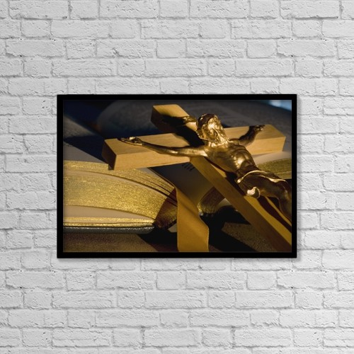 "Printscapes Wall Art: 18"" x 12"" Canvas Print With Black Frame - Crucifix Laying On Open Bible by Darren Greenwood"
