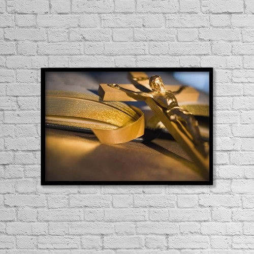 """Printscapes Wall Art: 18"""" x 12"""" Canvas Print With Black Frame - Crucifix And A Bible by Darren Greenwood"""