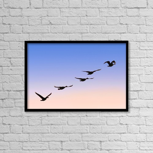 "Printscapes Wall Art: 18"" x 12"" Canvas Print With Black Frame - Flock Of Geese by Raven Regan"