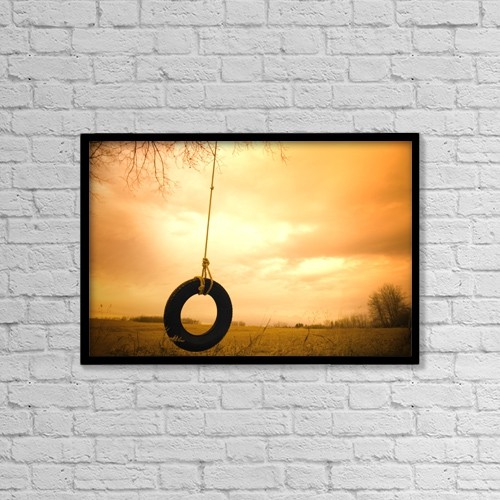 "Printscapes Wall Art: 18"" x 12"" Canvas Print With Black Frame - Tire Swing by Darren Greenwood"