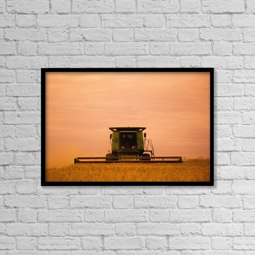 """Printscapes Wall Art: 18"""" x 12"""" Canvas Print With Black Frame - Combine Harvester by Darren Greenwood"""