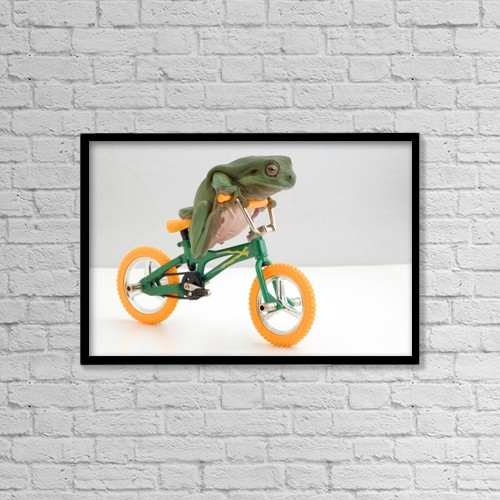 "Printscapes Wall Art: 18"" x 12"" Canvas Print With Black Frame - Frog On A Bicycle by Corey Hochachka"