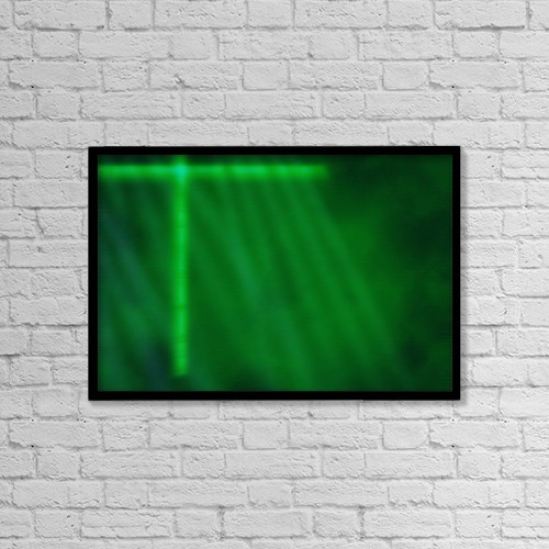 "Printscapes Wall Art: 18"" x 12"" Canvas Print With Black Frame - Green Cross Computer Generated Image by Tim Antoniuk"