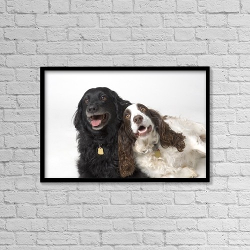 "Printscapes Wall Art: 18"" x 12"" Canvas Print With Black Frame - Pair Of Canine Friends by Corey Hochachka"