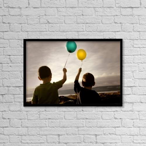 "Printscapes Wall Art: 18"" x 12"" Canvas Print With Black Frame - Two Children With Balloons by Con Tanasiuk"