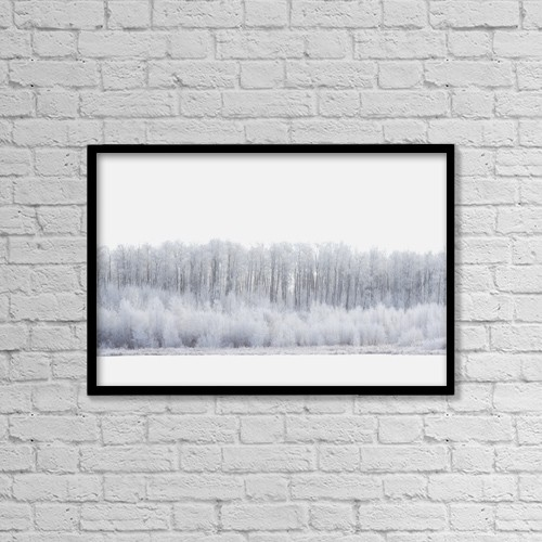 "Printscapes Wall Art: 18"" x 12"" Canvas Print With Black Frame - White Wonderland by Darren Greenwood"