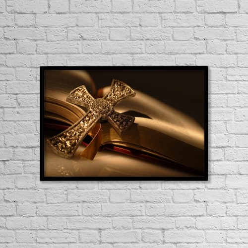 """Printscapes Wall Art: 18"""" x 12"""" Canvas Print With Black Frame - Gold Cross On Open Bible by Darren Greenwood"""