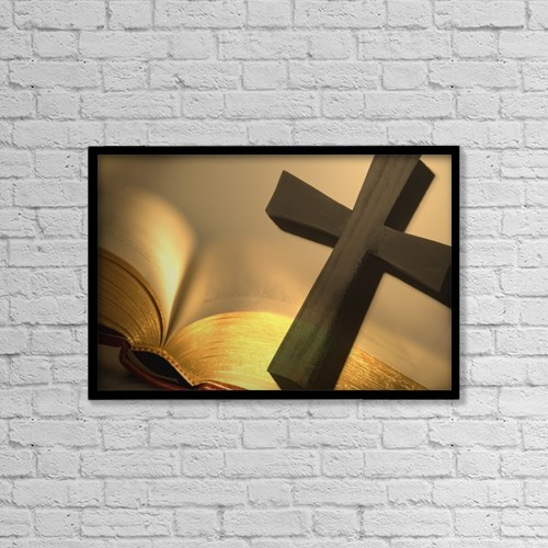 "Printscapes Wall Art: 18"" x 12"" Canvas Print With Black Frame - Cross With Open Bible by Darren Greenwood"