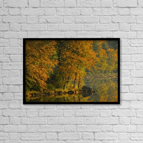 """Printscapes Wall Art: 18"""" x 12"""" Canvas Print With Black Frame - Autumn Scenic by Alan Marsh"""