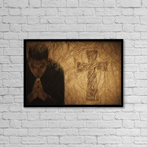 """Printscapes Wall Art: 18"""" x 12"""" Canvas Print With Black Frame - Composition Of Man Praying To Jesus by Darren Greenwood"""