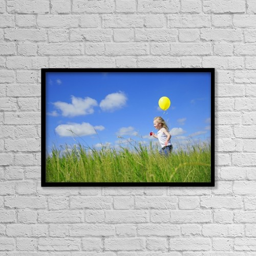 "Printscapes Wall Art: 18"" x 12"" Canvas Print With Black Frame - Child Running With A Balloon by Don Hammond"