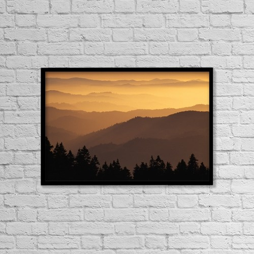 """Printscapes Wall Art: 18"""" x 12"""" Canvas Print With Black Frame - Hazy Ridges Of Trinity Alps At Sunset by Dan Sherwood"""
