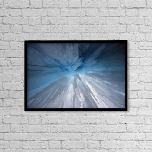 "Printscapes Wall Art: 18"" x 12"" Canvas Print With Black Frame - Icicles by Sean White"