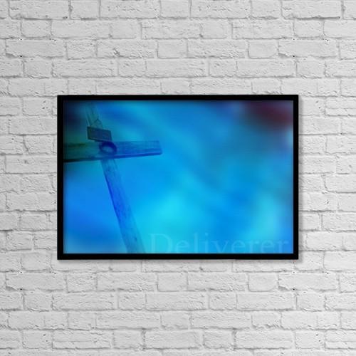 "Printscapes Wall Art: 18"" x 12"" Canvas Print With Black Frame - Empty Cross by Tim Antoniuk / Don Hammond"