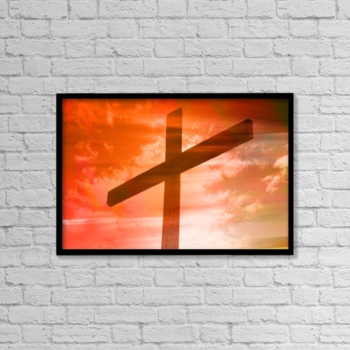 "Printscapes Wall Art: 18"" x 12"" Canvas Print With Black Frame - Cross by Tim Antoniuk / Don Hammond"