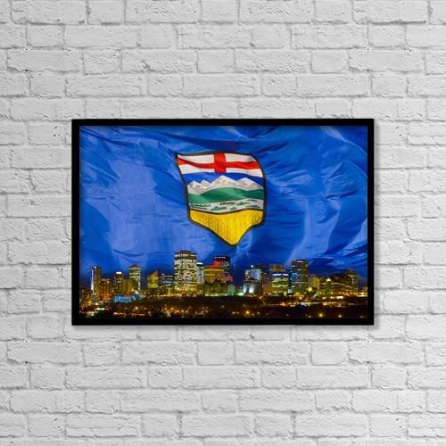 "Printscapes Wall Art: 18"" x 12"" Canvas Print With Black Frame - Flag Of Alberta Over Edmonton by Corey Hochachka"
