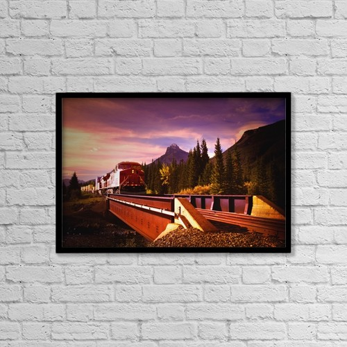"Printscapes Wall Art: 18"" x 12"" Canvas Print With Black Frame - Train Going Over A Bridge by Darren Greenwood"