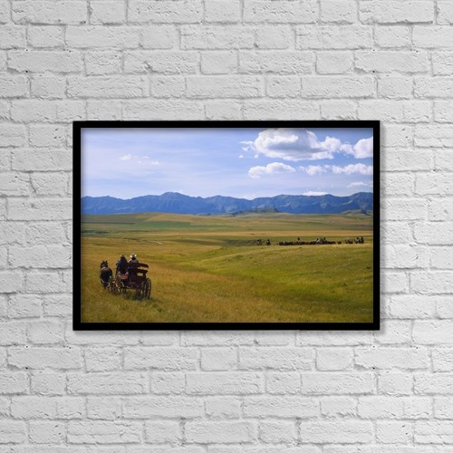 "Printscapes Wall Art: 18"" x 12"" Canvas Print With Black Frame - Cowboys And Wagon On A Cattle Drive by Carson Ganci"