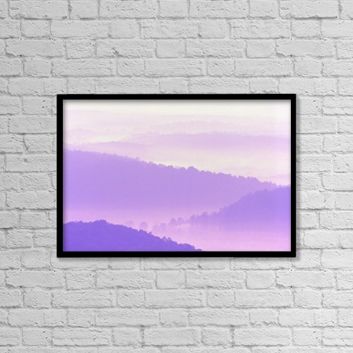 "Printscapes Wall Art: 18"" x 12"" Canvas Print With Black Frame - Blue Ridge Mountains by Alan Marsh"
