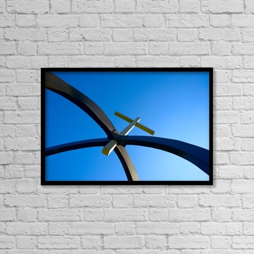 """Printscapes Wall Art: 18"""" x 12"""" Canvas Print With Black Frame - Cross Suspended In Arches by Don Hammond"""