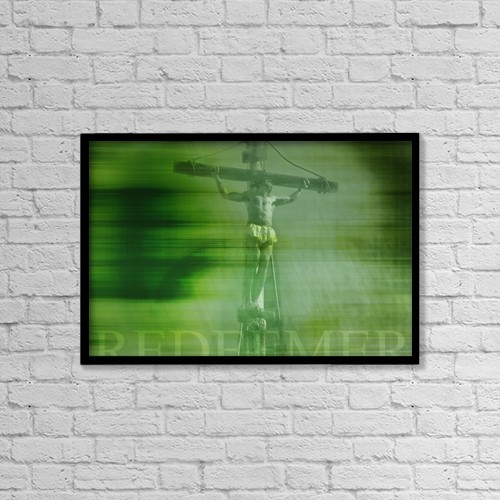 "Printscapes Wall Art: 18"" x 12"" Canvas Print With Black Frame - Jesus On Cross by Tim Antoniuk / Don Hammond"