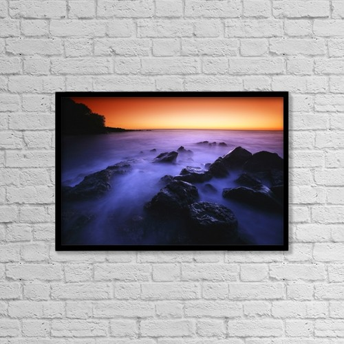 "Printscapes Wall Art: 18"" x 12"" Canvas Print With Black Frame - Sunset Over Water, Hawaii, Usa by Don Hammond"