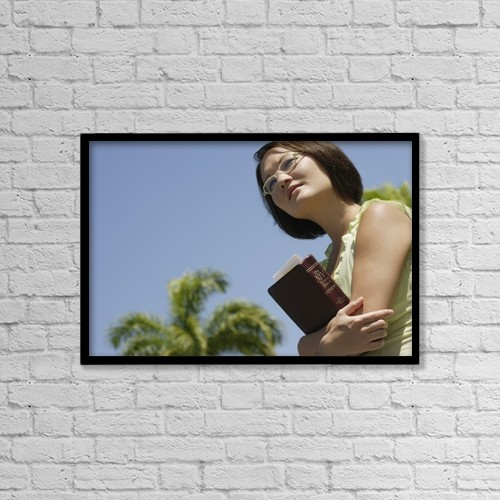 "Printscapes Wall Art: 18"" x 12"" Canvas Print With Black Frame - Female Student Carrying Her Study Bible by Darren Greenwood"