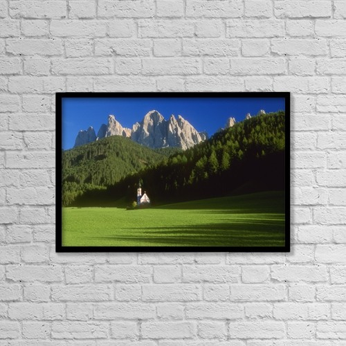 """Printscapes Wall Art: 18"""" x 12"""" Canvas Print With Black Frame - Church In The Countryside; Italy by Bilderbuch"""