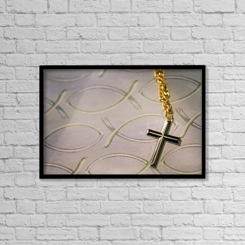 "Printscapes Wall Art: 18"" x 12"" Canvas Print With Black Frame - Cross Necklace On Fish Symbol Background by Kelly Redinger"