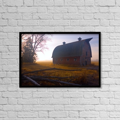 """Printscapes Wall Art: 18"""" x 12"""" Canvas Print With Black Frame - A Barn Sits In Morning Mist by Don Hammond"""