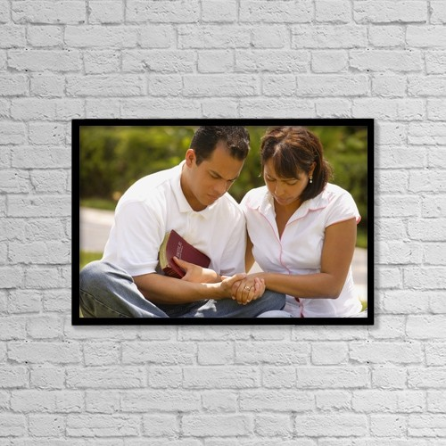 "Printscapes Wall Art: 18"" x 12"" Canvas Print With Black Frame - Couple Praying Together by Don Hammond"