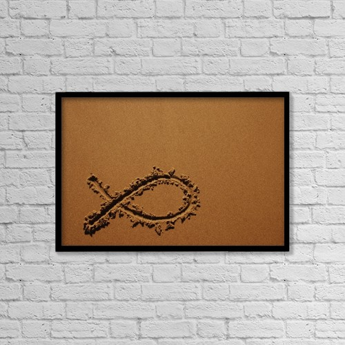 """Printscapes Wall Art: 18"""" x 12"""" Canvas Print With Black Frame - Fish Symbol In Sand by Christine Mariner"""