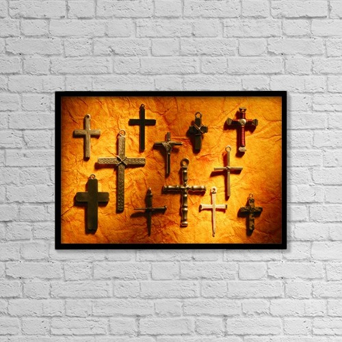 "Printscapes Wall Art: 18"" x 12"" Canvas Print With Black Frame - Different Crosses by Don Hammond"