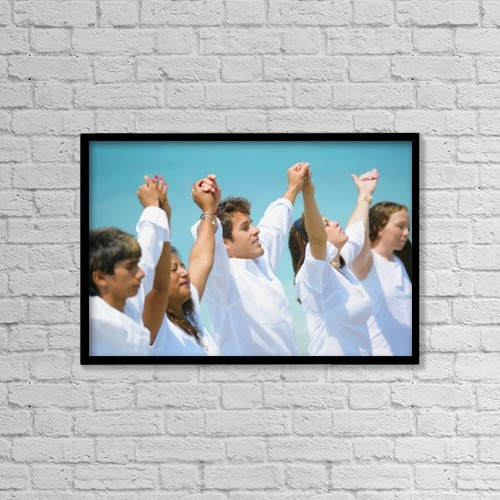 """Printscapes Wall Art: 18"""" x 12"""" Canvas Print With Black Frame - Group Of People In Worship by Don Hammond"""