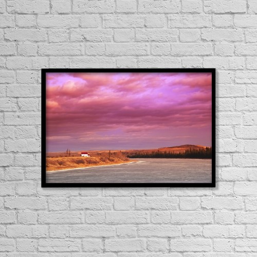 """Printscapes Wall Art: 18"""" x 12"""" Canvas Print With Black Frame - Sunset Over A River by Stephen Kiers"""