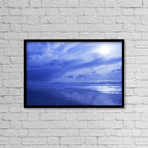 """Printscapes Wall Art: 18"""" x 12"""" Canvas Print With Black Frame - Blue Waterscape by Christine Mariner"""